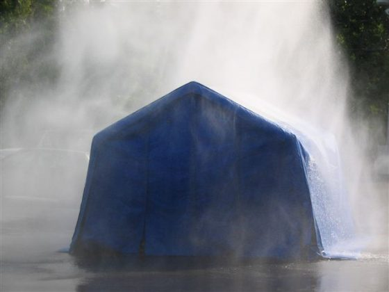 Inflatable_shelter_hosed_down