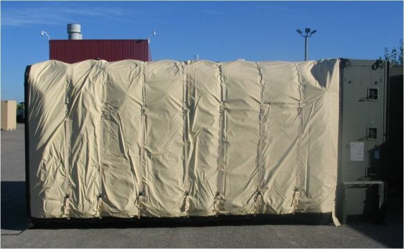 Insulated Flysheet for Accordion Shelter developed for AAR Mobility Systems