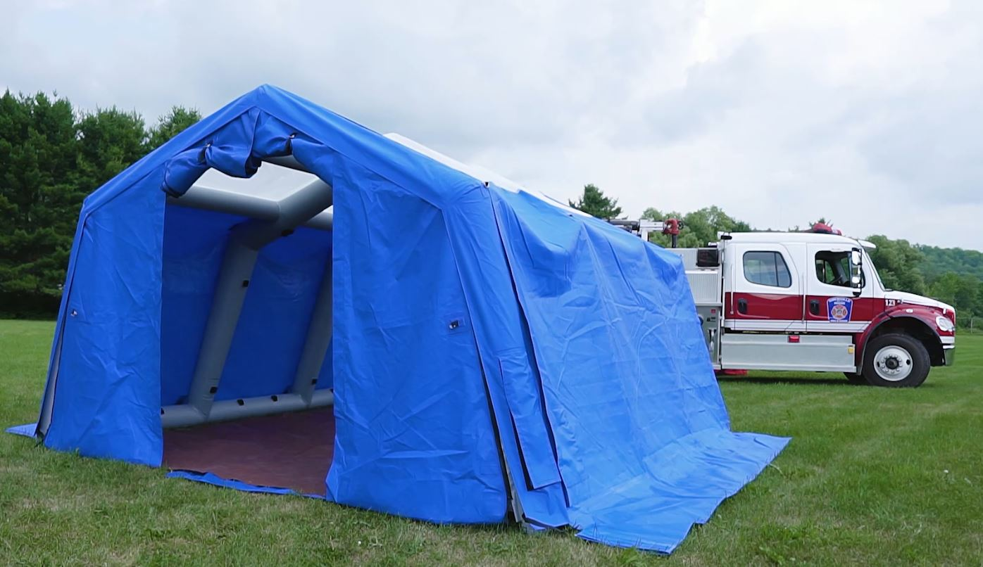 Inflatable Shelter in front of Fire Truck