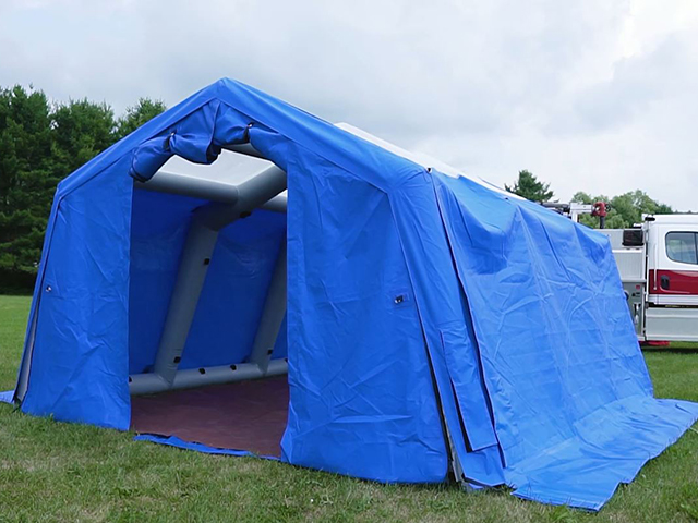 Inflatable Shelter and Fire truck